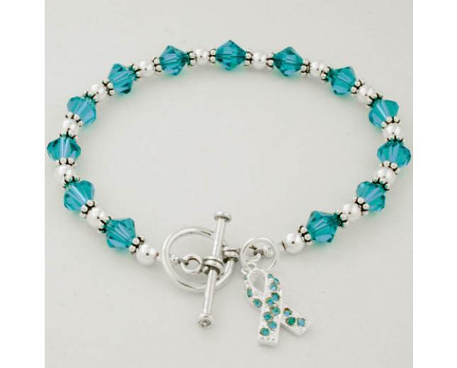 Ovarian Cancer Awareness Swarovski Crystal Beaded Bracelet